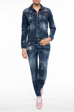 Embroidered distressed denim jacket od Dsquared2